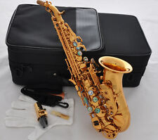 TOP gold Curved Soprano saxophone Bb Sax Abalone shell Keys High F# With Case