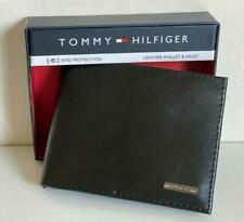 TOMMY HILFIGER BLACK TAN LEATHER BILLFOLD PASSCASE RFID PROTECTION WALLET $48