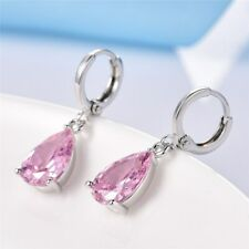 Rhodium Plated Pink Crystal Rhinestone Wedding Drop Dangle Earrings 00228 Party