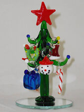 """HANDCRAFTED GLASS XMAS TREE W/9 REMOVABLE ORNAMENTS by LSARTS - 4½"""" TALL"""