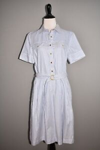 TORY BURCH NEW $348 Striped Cotton Shirtdress Surfside White Oxford Size 8