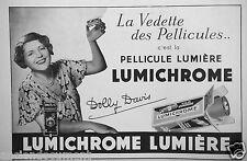 PUBLICITÉ 1934 LUMICHROME PELLICULE LUMIÈRE - VEDETTE DOLLY DAVIS