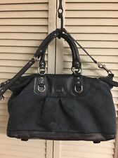 COACH ASHLEY F18775 LARGE CHARCOAL GRAY SATEEN LEATHER SATCHEL SHOULDERBAG