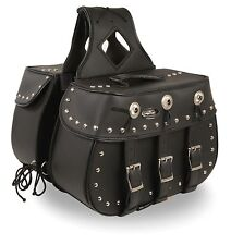Zip-Off Heritage PVC Throw Over Saddle Bag w/ Studs for Harley, Honda Bikes