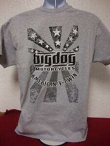 BIG DOG MOTORCYCLES 2-XL AMERICAN V-TWIN SHIRT LOGO FRONT/BACK STARS/STRIPES K-9