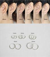 Women/Men Genuine Solid 925 Sterling Silver Hinged Hoop Sleeper Circle Earrings