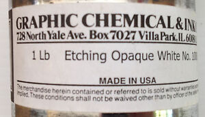 Etching Ink Opaque White No 1000C 1lb Can Graphic Chemical & Ink Co