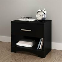 South Shore Gramercy 1 Drawer Nightstand in Pure Black