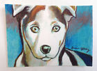 Blue Husky Dog Pup Art Print ACEO Collectible Gift Card Ink Drawing NY Artist