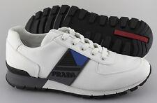 Men's PRADA 'Linea Rossa' White Leather Sneakers Size US 11 PRADA 10