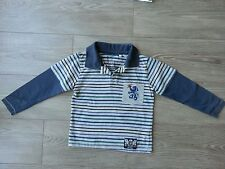 Polo rayé bleu et gris HERE THERE 5-6ans