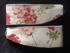 "LAURA ASHLEY GERANIUM col : PALE CRANBERRY  1 Pair of Tie- Backs 26"" Piped NEW"