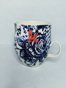 Anthropologie Monogram Homegrown Letter K Initial Blue Floral Coffee Cup Mug 2