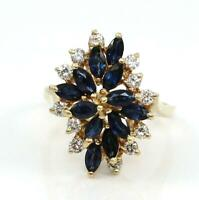 Solid 14K Yellow Gold Sapphire Natural Diamond Waterfall Cluster Ring Size 8.5
