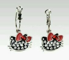 HELLO KITTY SILVER PLATED EARRINGS BLACK & RHINESTONES RED BOW