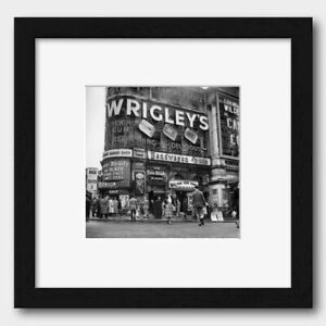 Junction Piccadilly Circus London 1950s Print Black Frame White 40 x 40