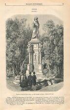 Fontaine & Statue de Martin Schoen par Auguste Bartholdi à Colmar GRAVURE 1866