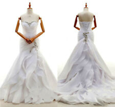 Strapless Mermaid Wedding Dresses Chiffon Beaded Sweetheart Ruffles Bridal Gowns