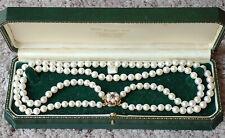 Vintage AAA quality 5-6mm Akoya cultured pearl, 9ct gold & garnet double choker