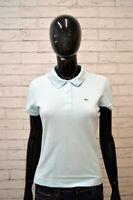 Polo Bianca LACOSTE Donna Taglia 42 Maglia Manica Corta Shirt Jersey Elastica