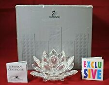 Swarovski - Silver Crystal - Lotus Flower / Lily Pad Candle Holder w/Box Inserts