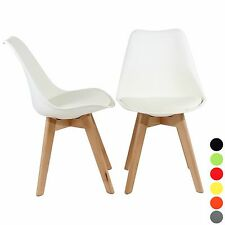 Reboxed 2x Dining Office Modern Tulip Chair Wooden Kitchen Furniture in White
