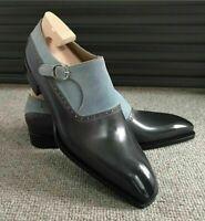 Handmade Men's Black Leather Grey Suede Monk Strap Dress/Formal Shoes