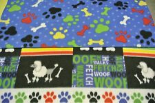 Poodle Dog Bones Paw Prints Pet Blanket Can Personalize Double Sided 28x22 Multi