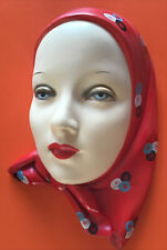 Vintage 1940s Woman Lady Head Face Wall Plaque Retro Kitsch Ceramic Chalkware