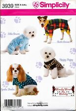 SIMPLICITY SEWING PATTERN 3939 S-M-L DOG CLOTHES / COATS IN THREE SIZES