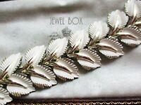 SIGNED JEWELCRAFT Vintage Designer CREAM ENAMEL BROAD LEAF PANELS BRACELET