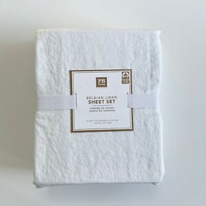 Pottery barn Teen Belgian Linen Sheet Set Twin XL set white