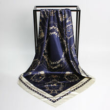 "Women's Navy Blue  Silk-Satin Square Scarf Shawl Fashion Printed New 35""x35"""