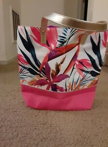 Beach Bag Tropical Hawaiian Tote Floral Pink Gold Straps Purse Gym Travel Large