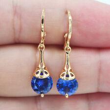18K Yellow Gold Filled Women Royal Blue Mystical Topaz Drop Earrings Jewelry