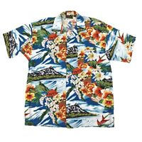 Vintage Monzini Collection Hawaiian Shirt Single Stitch Mens Size Medium Italy
