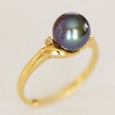 PEARL RING 8.3mm BLACK FRESHWATER PEARL GENUINE DIAMONDS REAL 9K GOLD SIZE P NEW