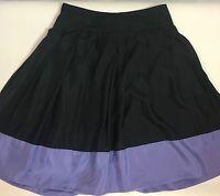 Express Design Studio Women's Size 6 Black & Purple Pleated Skirt 100% Silk