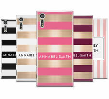 PERSONALISED NAME/INITIALS/TEXT STRIPE MOBILE PHONE CASE FOR SONY XPERIA XZ