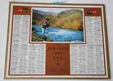 Calendrier almanach PTT 1967 Pêche rivière Carte Pyrénées Orientales Andorre