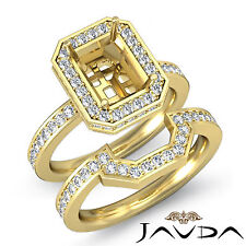 Diamond Radiant Wedding Band SemiMount Ring 18k Gold Yellow Bridal Setting 1.3Ct