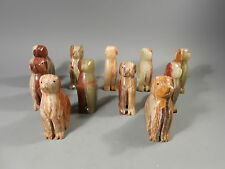 Group of 11 Carved Hardstone Agate? Figures of Dogs ca. 20th century