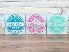 Soda pop set of 3 glass coasters champagne chocolate desserts