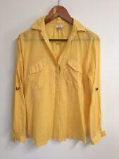 I LOVE H81 Womens Yellow Half Button Collar Blouse Size MEDIUM