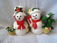 CHRISTMAS ~ SNOWMAN ~ SNOW PEOPLE ~ SNOW WOMAN ~ CANDLE HOLDERS or PLANTERS