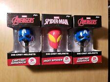 MARVEL Avengers CAPTAIN AMERICA Die-Cast Helmet NIB x2 & Iron Spider helmet