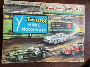 Vintage Triang Minic Motorways Set with Box & 2 Cars Untested