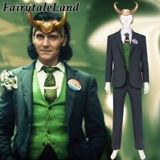 Loki season one Cosplay Costume Halloween Thor Brother Outfit with Horns