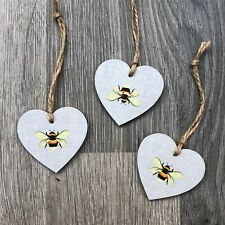 Bees Wooden Hanging Heart Plaque Room Handmade Decoupaged Gift