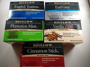 Tea Lover's Lot of 5 Bigelow Variety of Black & Classic Teas - total of 100 bags